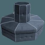 divano otagonale su misura per progetto allestimento